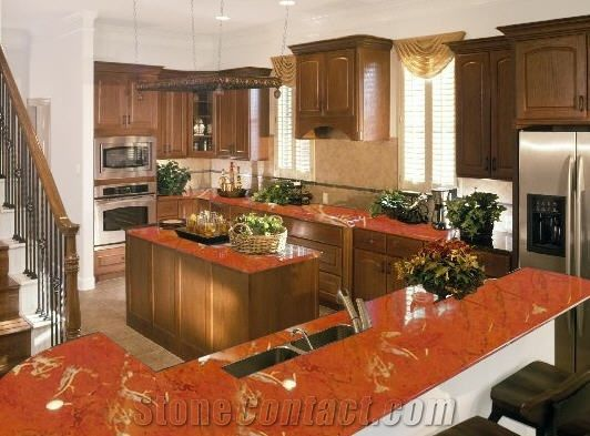 Rojo Alicante Polished Marble Countertop Design Red