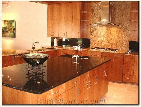 Custom Kitchen Brazil Black Granite Via Lactea Black
