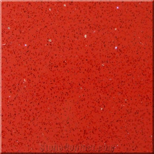 Red Quartz Stone Tile Glitter Red From China