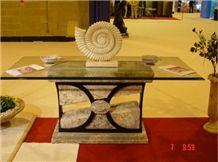 Travertino Silver Table, Chiaro Fossil
