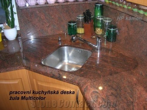 Multicolor Red Granite Kitchen Countertop From Czech