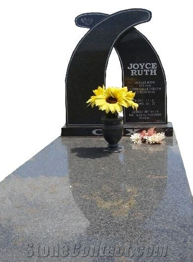 Twin Wave Design Granite Tombstone From South Africa