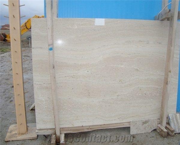 Cream Light Travertine Tiles Slabs Beige Polished Floor Wall