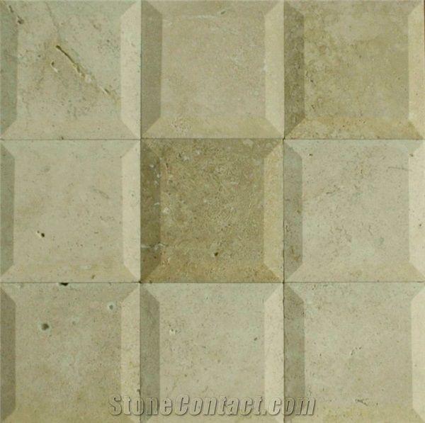 Large Bevelled Travertine Tiles Slabs Beige Travertine Floor Tiles