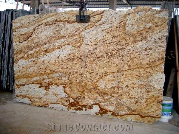 Verniz Tropical Granite Slabs Brazil Yellow Granite 45576