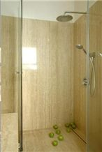 Ivory Classic Vein Cut Shower, Beige Travertine Bath Design