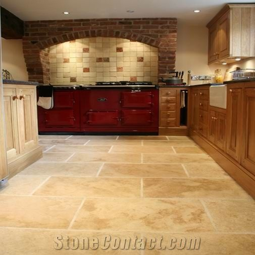 Antique Syle Classic Travertine Chipped, Beige Travertine Kitchen Design