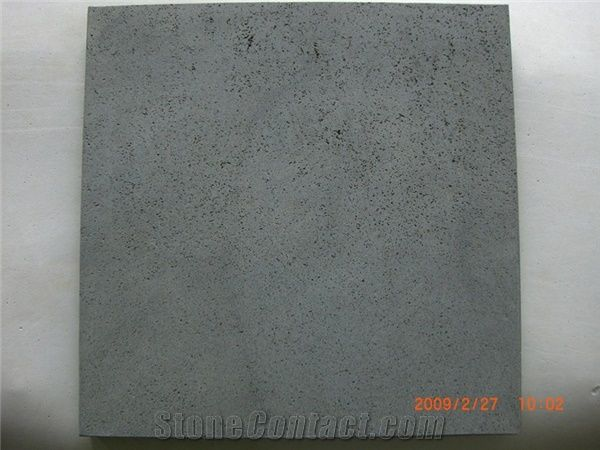 Black Andesite Basalt Floor Tiles Honed 400 From China