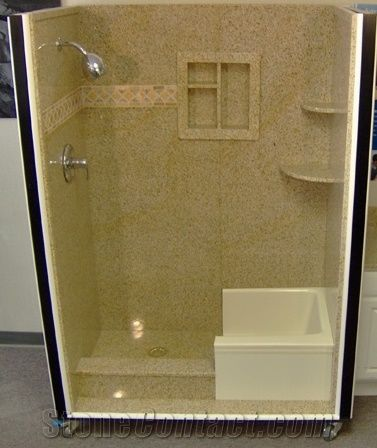 Yellow Granite Tub Surrounds Shower Panels From China