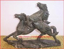 Green Granite Horse Animal Sculpture