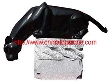Black Granite Lion Animal Sculpture