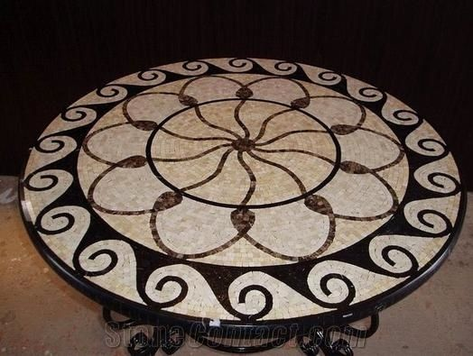 Marble Mosaic Table Top Patterns Round From China