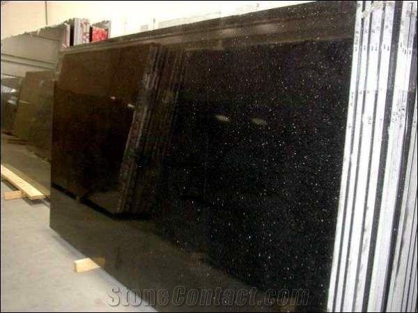 Black Galaxy Granite Tiles Slabs Polished Granite Floor Tiles Wall