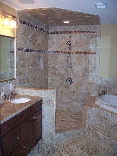 Travertine wall tile bath design rapolano capuccino for Bathroom ideas karachi