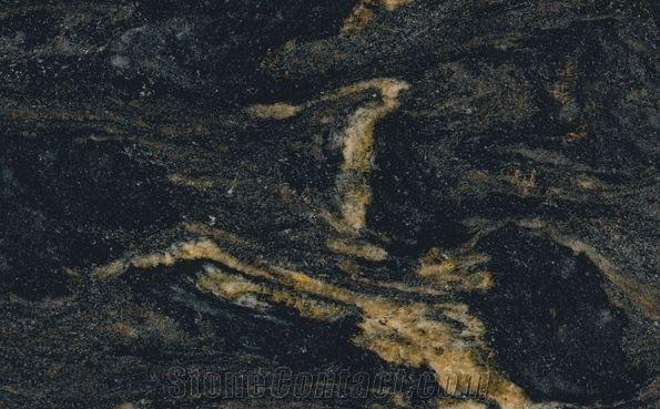 Black Forest Gold Granite Slabs Tiles Brazil Black