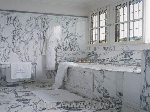 Calcutta Gold Marble Bathroom White