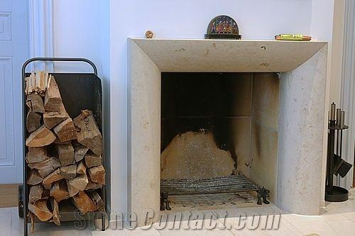 Beige Limestone Fireplace Mantel From Switzerland 63048