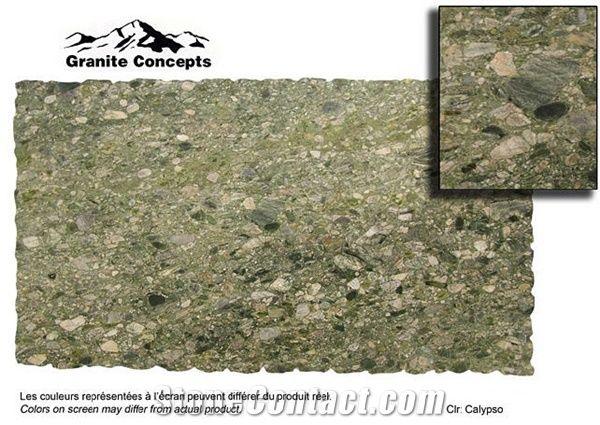 Calypso Green Granite Slabs Tiles Brazil