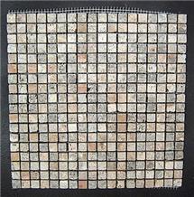 Scabas Travertine Mosaic, Multicolor Travertine Mosaic Turkey