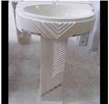 Hebron Bone Pedestal Basin, White Limestone