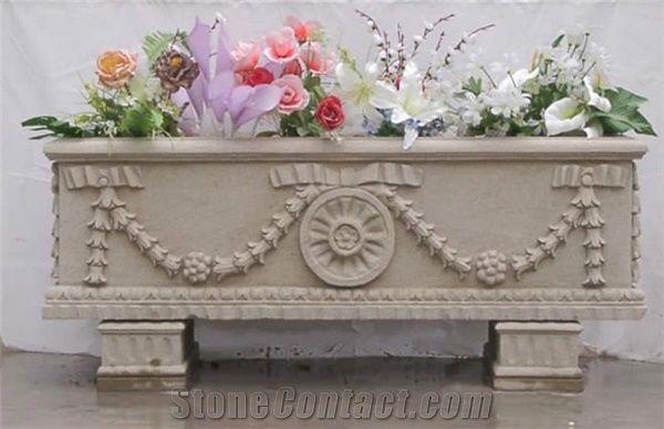 Dholpur White Sandstone Flower Pot White Sandstone Flower Vase