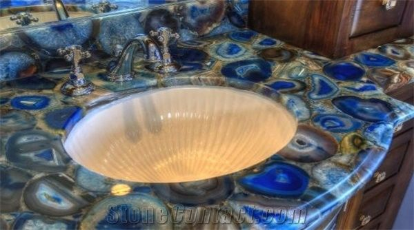 Blue Agate Semiprecious Stone Vanity Top From United