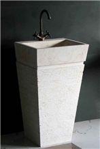 Beige Marble Pedestal Sink