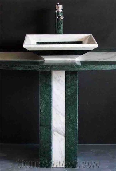 Green Marble Pedestal Sink