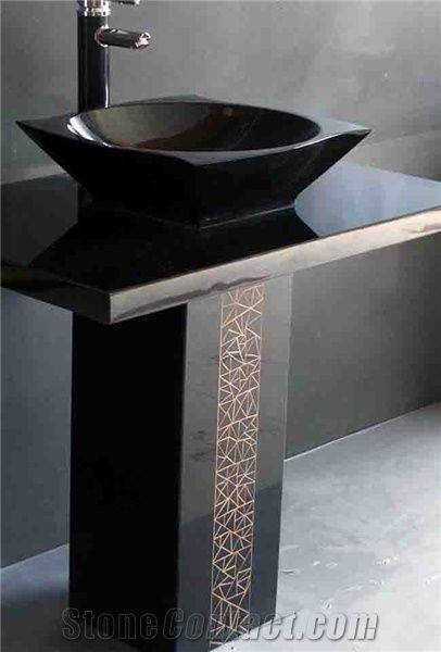 Shanxi Black Pedestal Sink From China 103581