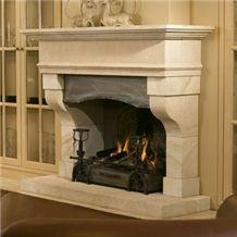 C-101 Fireplace Crema Cenia, Beige Limestone