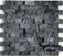 Dark Silver, Dark Blue, Dark Grey Travertine Split Face Mosaic, Titanium Travertine Wall Mosaic