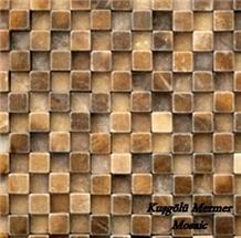 Dark Unfilled Travertine Mosaic K17