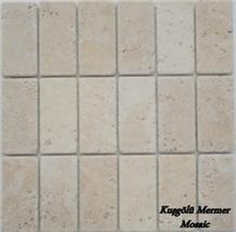 Mosaic K10, Light Cream Travertine Tumbled Mosaic, Beige Travertine Mosaic