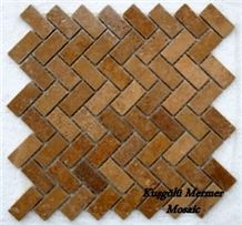 Noce Travertine Tumbled Mosaic K21