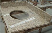 China Granite G682 Bathroom Vanity Tops, Natural Stone Custom Countertops with Sink & Basins, Rusty Yellow Granite Vanity Top