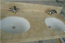 Galala Beige Marble Bathroom Vanity Tops, Stone Custom Countertops with Sinks & Basins, Kitchen Vanity Top