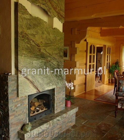 Rain Forest Green Marble Fireplace From Poland