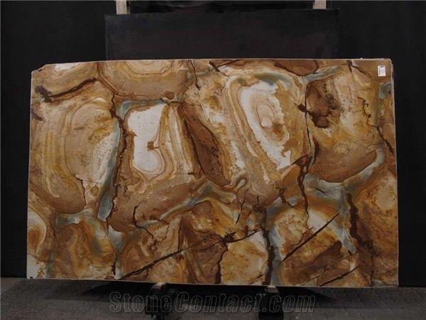 Palomino Stone Wood Quartzite Slab From Brazil