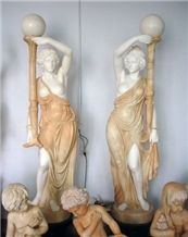 Wanxia Red Marble Mixed White Marble Human Sculptured Laterns/Garden Decoration