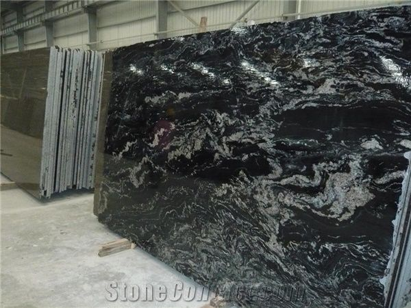 River Galaxy Granite Slab Brazil Black Granite From China