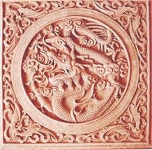 Red Sandstone Embossment Etching, Red Vein Pink Sandstone Embossment