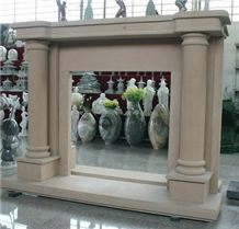 Beige Marble Fireplaces Simple Design with Columns,Western Style Fireplace Mantel