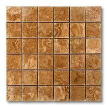 English Walnut Travertine Mosaic, Brown Travertine
