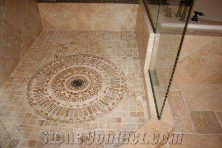 Travertine Medallion Shower Design