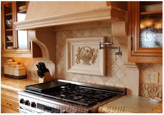 Beige Natural Stone Mosaic Kitchen Backsplash