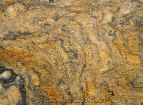 Vesuvio Oro Granite Slabs Tiles Brazil Yellow Granite
