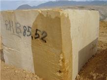 Yellow Travertine Block, Iran Yellow Travertine