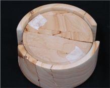 Teak Wood Marble Coaster