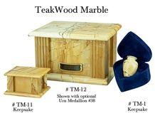 Teak Wood Marble Keepsake and Urn