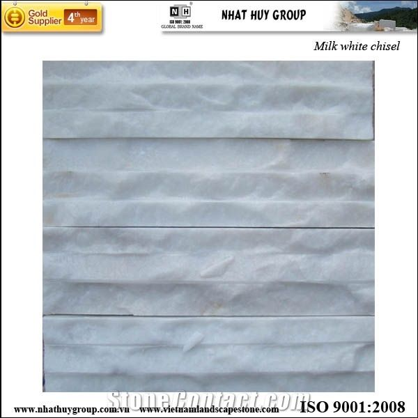 Vietnam Cladding Stone Milk White Line Chiseled From